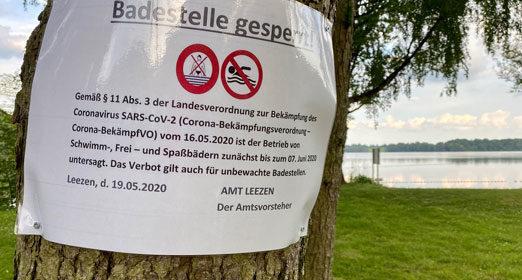 Badestelle zunächst bis zum 07. Juni 2020 gesperrt